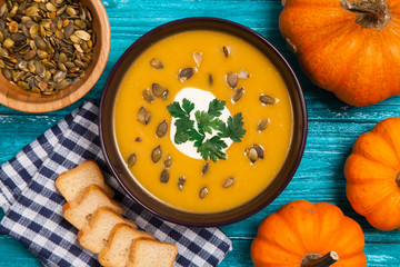 Delicious pumpkin cream soup