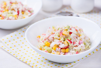 Fresh vegetable salad with mayonnaise