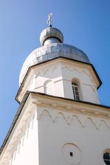 Bellfry of St. George's Monastery in Veliky Novgorod, Russia