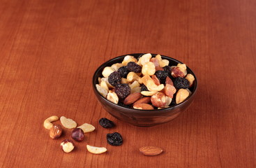 Healthy and tasty snack. Nuts and dried fruits.