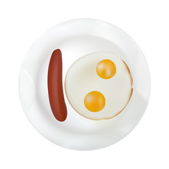 Scrambled eggs with two yolks and sausage