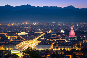 Turin (Torino), panorama at night