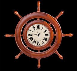 Wall clock made in the form of steering the ship