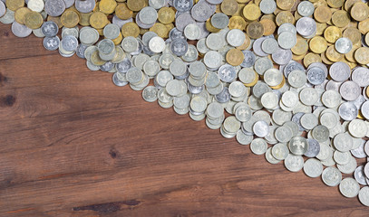 half frame background with mixed coins.