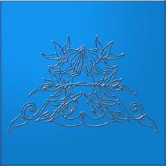 ornement arabesques rétro sur fond bleu