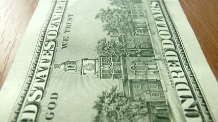 The video shows banknotes dollars clous up