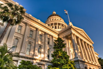California State Capitol Lit by Setting Sun