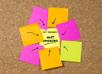 yellow post it note on cork board reminder of quit smoking
