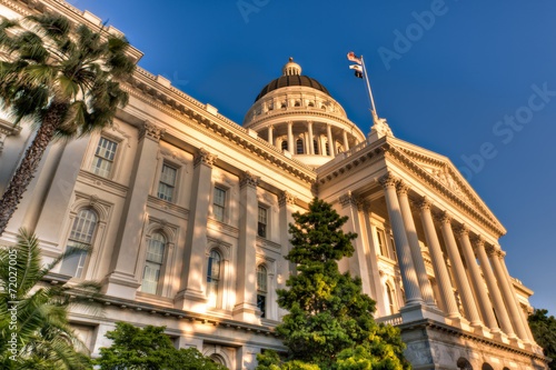 California State Capitol Lit by Setting Sun - 72027005