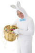 Senior Bunny with a Basket of Eggs