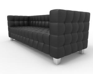 Black Leather Sofa on white background, side closeup.