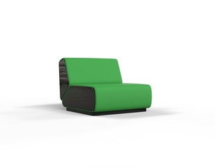 Modern Green Chair isolated on white background - front view.