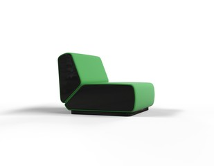Modern Green Chair isolated on white background - side view.