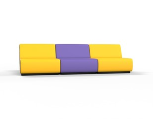 Modern Yellow and Purple Lounge chairs - front view.