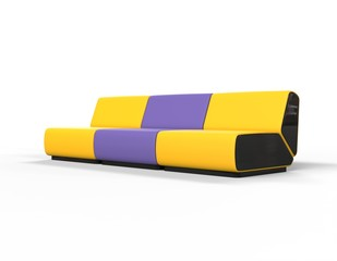 Modern Yellow and Purple Lounge chairs - side view.