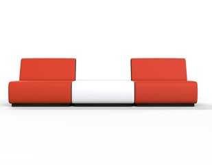 Modern Red and White Lounge chairs.