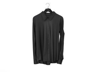 Black long sleeve shirt isolated on white background.