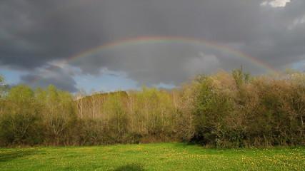 Paisaje  con arco iris  al atardecer después de tormenta