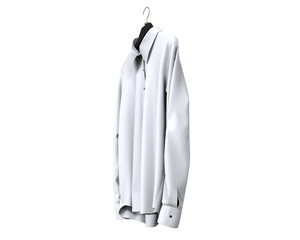 White long sleeve shirt isolated on white background.