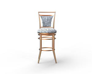 White coffee shop chair on white background - front view.