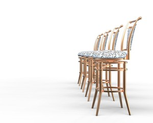 Four coffee shop chairs on white background - side view.