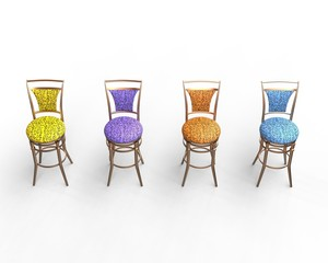 Multicolored coffee shop chair on white - top view.