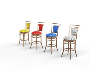 Red, blue, yellow and white coffee shop chairs.