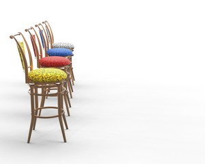 Red, blue, yellow and white coffee shop chairs - side view.