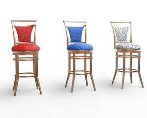 Red, blue and white coffee shop chairs on white background.