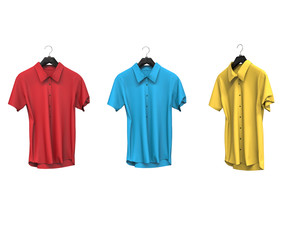 Red, blue and yellow short sleeve shirts.