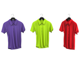 Purple, green and red short sleeve shirts.