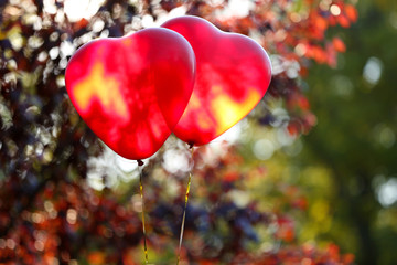 Love heart balloons, outdoors