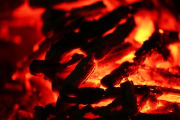 Burned coal fire close up