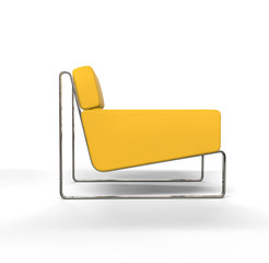 Yellow modern armchair on white background - side view.