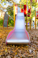 Playground slides in the park