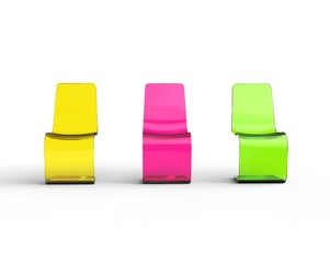 Yellow, purple and green plastic chairs  - front view.