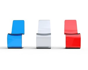 Futuristic white, red and blue plastic chairs - front view.