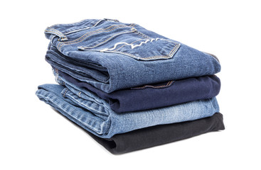 Stack of Jeans Isolated on White