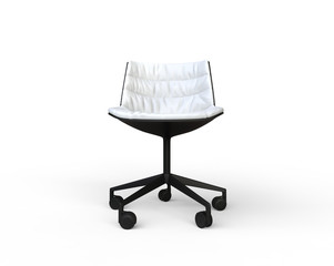 White modern office chair on white background - front view.