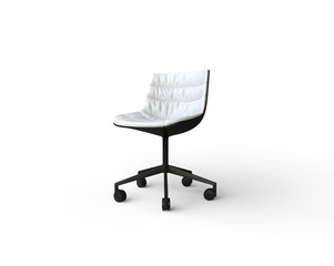 White modern office chair on white background.
