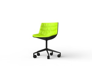 Bright green modern office chair on white background.