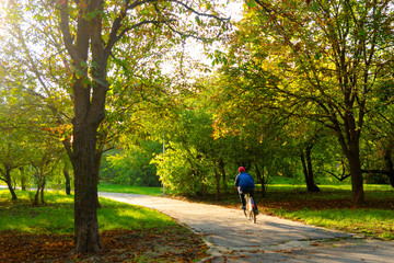 Boy riding bicycle on the park alley in the autumn