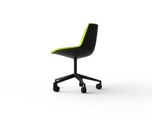 White modern office chair on white background - side view.