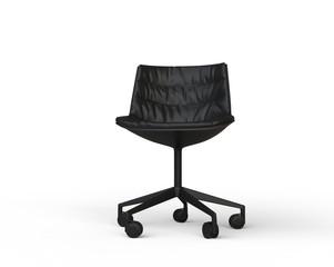 Black modern office chair on white background.