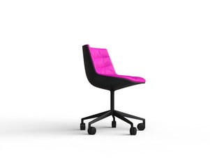 Pink modern office chair on white background - side view.