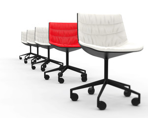 Red office chair in row of white office chairs - focus on red