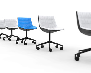 Blue office chair in row of white office chairs.