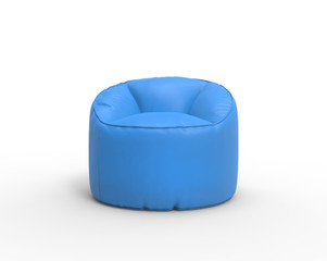 Bright blue lazy chair isolated on white background.
