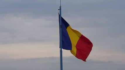 romanian flag in the wind