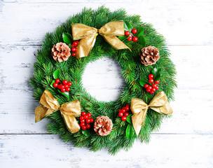 Christmas decorative wreath with leafs of mistletoe